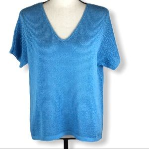 J Jill Short Sleeve Crocheted  Top Coastal…